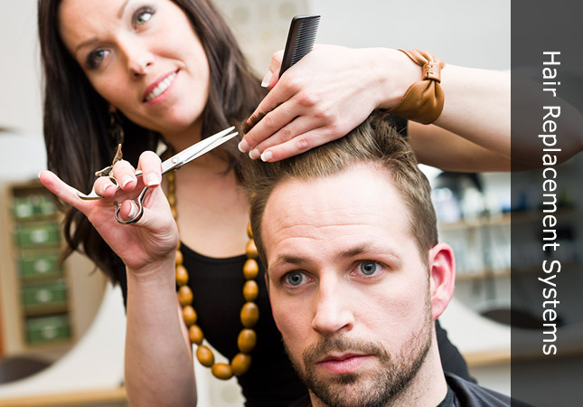 Hair replacement stylist cutting hair