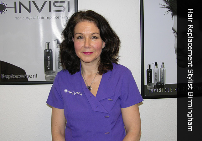 Invisi Hair clinic with female hair replacement stylist for Birmingham, UK.