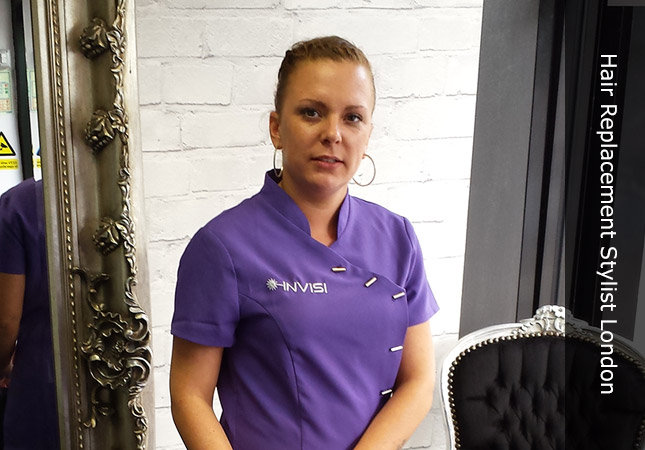 female hair replacement stylist in London Canary Wharf