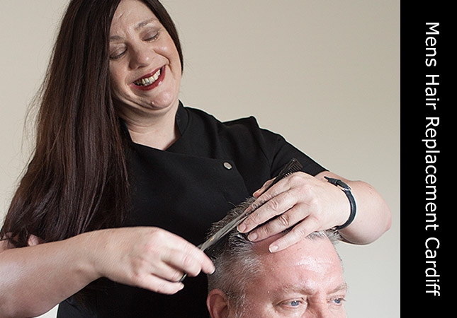 Hair replacement salon located in Cardiff, UK with female hair stylist