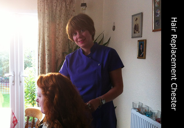 Hair replacement mobile stylist located in Chester, UK with female customer