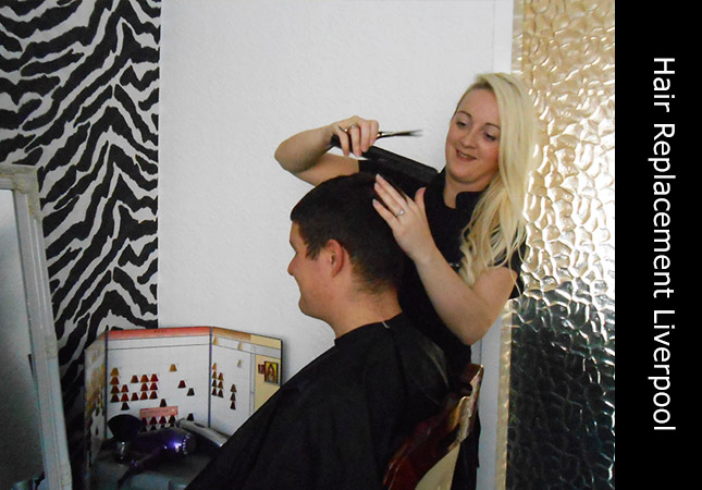 Female hair loss consultant with customer at her Merseyside hair loss clinic Liverpool