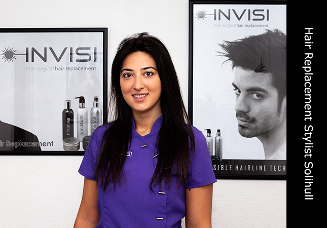 Attractive hair replacement stylist at a hair salon located in Solihull, Birmingham.