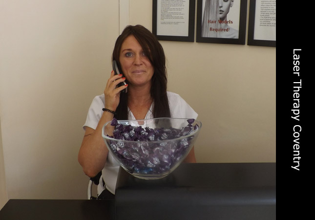 Trichologist Michaela inside her laser hair restoration clinic in Coventry UK