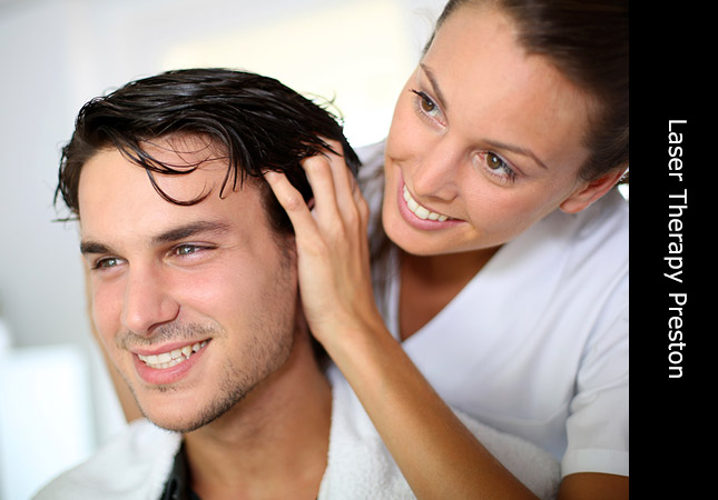Handsome male being treated with Hair Laser Therapy for hair loss in Preston UK