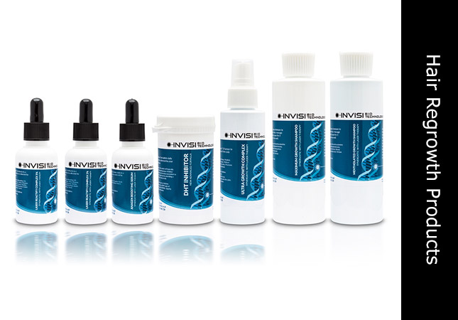 Hair regrowth products group at invisihair synergistic with laser treatment.