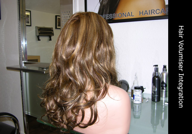 Beautiful blond high lights in human hair volumiser