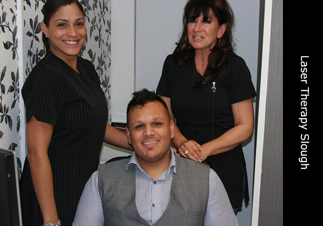 Kishan, Sonia and Lorraine at the Invisi hair loss clinic in Slough Berkshire