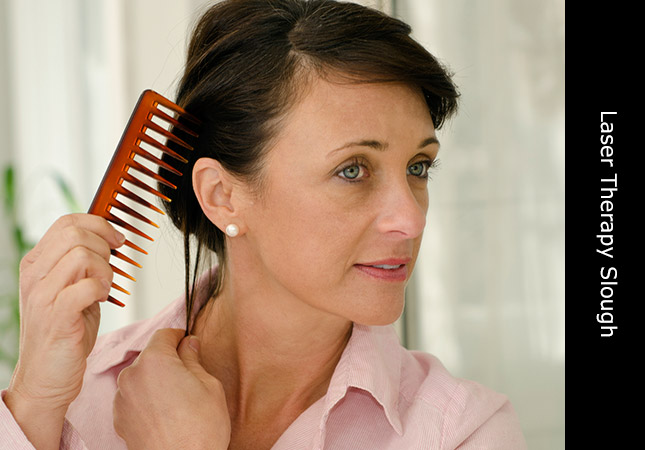 Attractive woman in Slough Berkshire very pleased with laser hair regrowth treatment