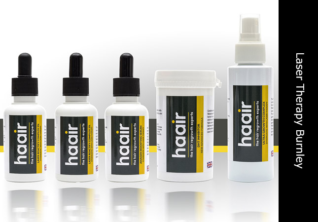 Trichology hair loss products line up for Haair based in Colne, Burnley, Lancashire