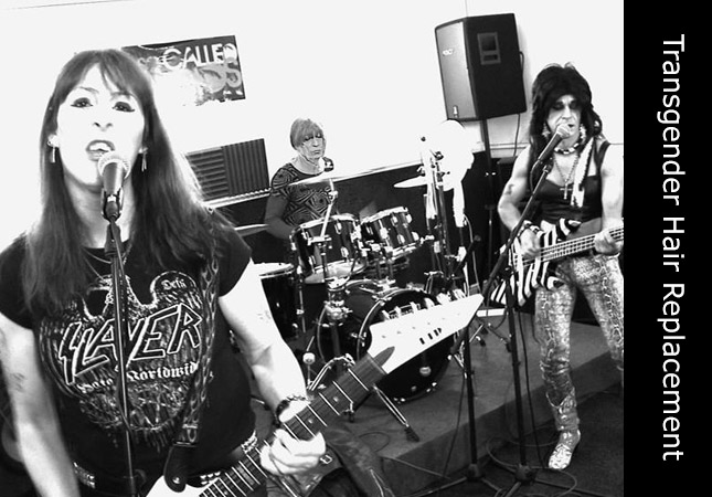 Transgender members of the Feral Scent rock band performing live music with Melanie on drums.