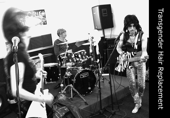 Rock music featuring on stage performance of Transgender band Feral Scent, Melanie on drums.