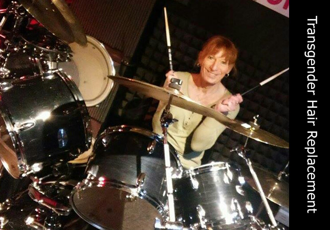 Invisi Hair client Melanie Taylor on drums during music gig performing with Feral Scent.