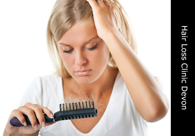 Woman concerned about hair fall is helped by hair loss services Honiton Devon