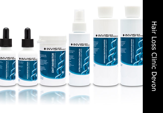 Trichology products on offer at hair loss services Honiton Devon