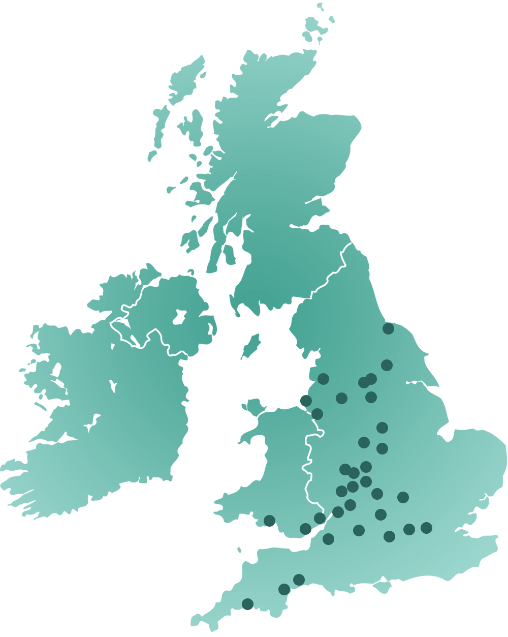Map of the UK showing towns and city locations for Invisi Hair Replacement Systems Ltd.